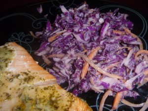 Bad pic, but it's a really pretty slaw that makes a great plating accent - AND is super tasty!