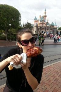 Trying to bite into a turkey leg and smile at the same is not easy