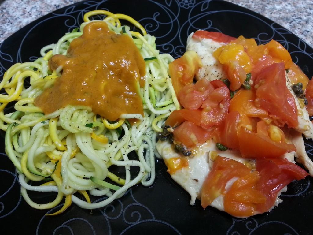 Heirloom tomato and marjoram tilapia