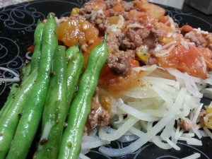 Low carb spaghetti and meat sauce