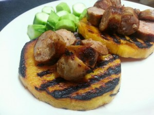Grilled butternut squash with sausage and luffa - how gorgeous are those grill lines??