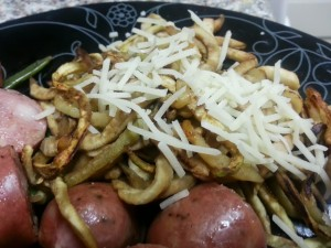 Served with chicken apple sausage and parmesan cheese